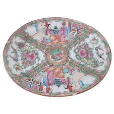 Old Vintage Chinese Rose Medallion Famille Rose Porcelain Serving Platter