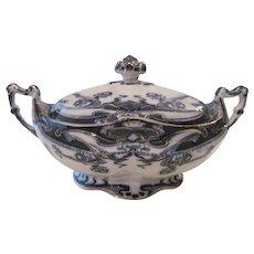 """Antique English Royal Staffordshire Art Nouveau Style """"Iris"""" Porcelain Tureen Serving Dish"""