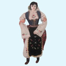 Vintage Large Sized Hand Stitched and Embroidered Yugoslavian Cloth International Folk Doll