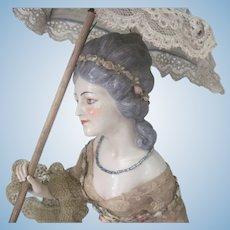 "Beautiful Large 8"" Antique Dressel and Kister German Porcelain Half Doll"