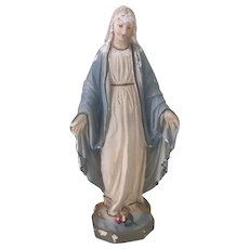 Old Vintage Chalk Madonna Virgin Mary Religious Statue c1940