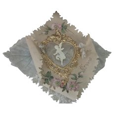 Old Fancy Large Victorian Valentine Card with Gold Heart, Cherub, Ribbons and Handpainted Flowers