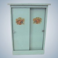 Vintage 1950's Baby Blue Green Painted Wooden Doll Clothes Closet Cabinet