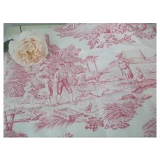 Vintage French Made Cotton Pink Toile de Jouy Fabric