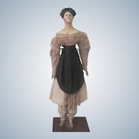 """Antique Early Wooden Milliner's Model 15"""" Doll C1820 - 30 with Rare Hairdo"""