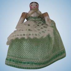 "Antique Rare Teeny Tiny 1/2"" Grodnertal Peg Wooden Doll"