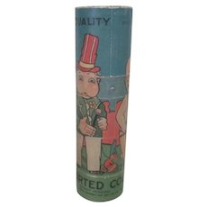 Old Vintage 1920's - 30's Toy Crayon Container with Comic Charachter Graphics