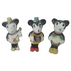 Old Vintage Walt Disney Porcelain Mickey Mouse Musician Dolls Figures c1930