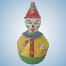 Old Antique Schoenhut Papier Mache Roly Poly Clown Doll Toy c1900