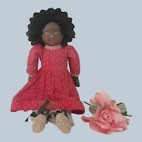 Antique Bruckner Cloth Black Doll c1900