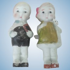 Old Vintage Pair of Bisque Children Dolls C1920-30 Made in Japan