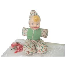 Vintage 1940's - 50's Stuffed Cloth Baby Doll with Celluloid Face
