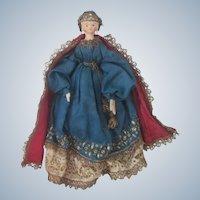 Antique German All Original Peg Wooden Grodnertal Doll C1830 - 40
