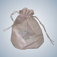 Old Victorian Pink Silk Floral Advertising Pouch Purse Manila