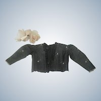 Old Victorian Doll Blouse Jacket with Beading and Metallic Lace c1890