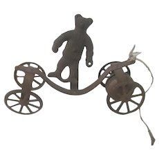 Old Victorian Metal Toy Teddy Bear Wheeled Pull toy c1900