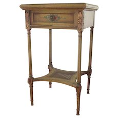 Vintage French Nightstand Hand Painted Floral Side Table c 1920-30 Free Shipping!