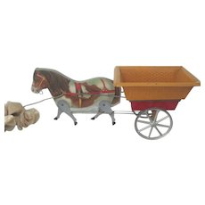 Antique Gibbs Toy Horse and Cart Doll Accessory c1910
