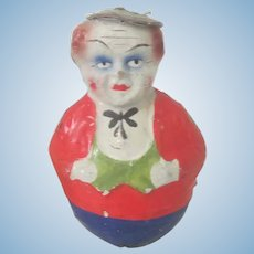 Old Children's Papier Mache Roly Poly Clown Doll Toy c1900