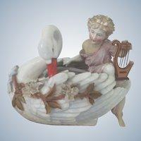 Antique Vase Container KPM Dresden Romantic Porcelain Figure on Swan