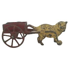 Antique Cast Iron Cat Pulling a Cart Toy c1900 Doll Accessory