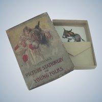 Old Children's Cards Toy Stationary Set in Original Box Dolls Harlequin c1915