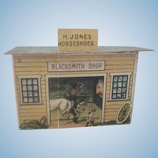 Old Mcloughlin Brothers Miniature Lithograph Dollhouse Blacksmith Shop c1890