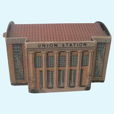 Old Miniature Lithographed Cardboard Union Station Dollhouse