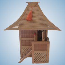Vintage Wooden Japanese Dollhouse with Furniture c1950