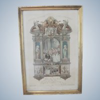 Old French Religious Catholic Communion Certificate Print Picture Souvenir c1887