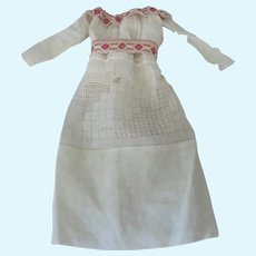 Old Victorian Cotton and Lace Doll Dress c1900