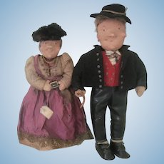 Vintage German Bavarian Cloth Character Dolls by Rauch with Original Tags c1920