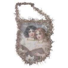 Old Victorian Print and Tinsel Christmas Ornament Decoration with Angels
