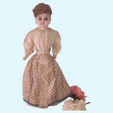 Antique Wax Over Papier Mache Doll Halloween Display
