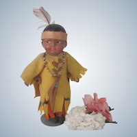 Old Native American Composition Madame Hedren Doll c1915