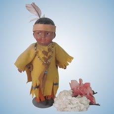 Old Native American Composition Madame Hedren Doll c1915