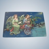 Old German Victorian Christmas Postcard with Angels