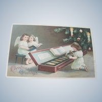 Old Edwardian Christmas Angel Postcard with Toy Xylophone c1912