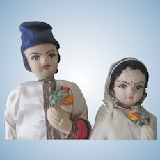Vintage Pair of East Indian Cloth Folk Dolls c1950