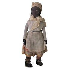 Vintage Black Cloth Folk Art Doll c1930's