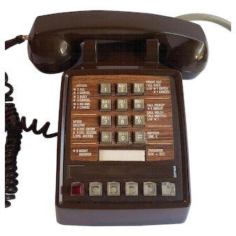 1980'S Brown Business Phone Push Button Multi Line ITT Model 2565