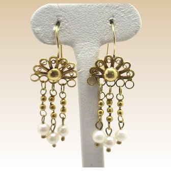 FLIRTY! 14KYG Pearl Dangle Earrings Delicate Wirework