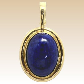 LARGE Lapis Pendant, Elegant in its Simplicity 14KYG, Bale Opens to fit on beads