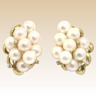14KYG Estate Akoya Cultured Pearl Cluster Earrings .18cttw Diamond Accents