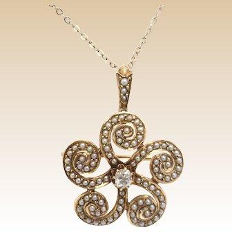 RARE! 14K Victorian Pendant/Pin Swirls of Seed Pearls & Diamond Center & Chain