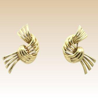 Fancy 14KYG Love Knot Style Earrings