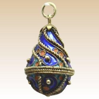 "BREATHTAKING! 14KYG Detailed Enameled ""Egg"" Pendant Faberge Inspired Look"