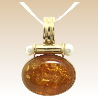 Fashionable 14KYG Amber & Pearl Accented Pendant, Bale Opens