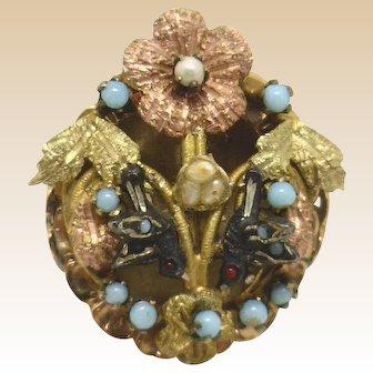 Victorian/Edwardian Mixed Metal Floral & Birds Ring (Karat Gold)