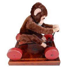Moderate Price Antique Vintage Mohair Bear Pull Toy On Tin Wheels Possibly Steiff